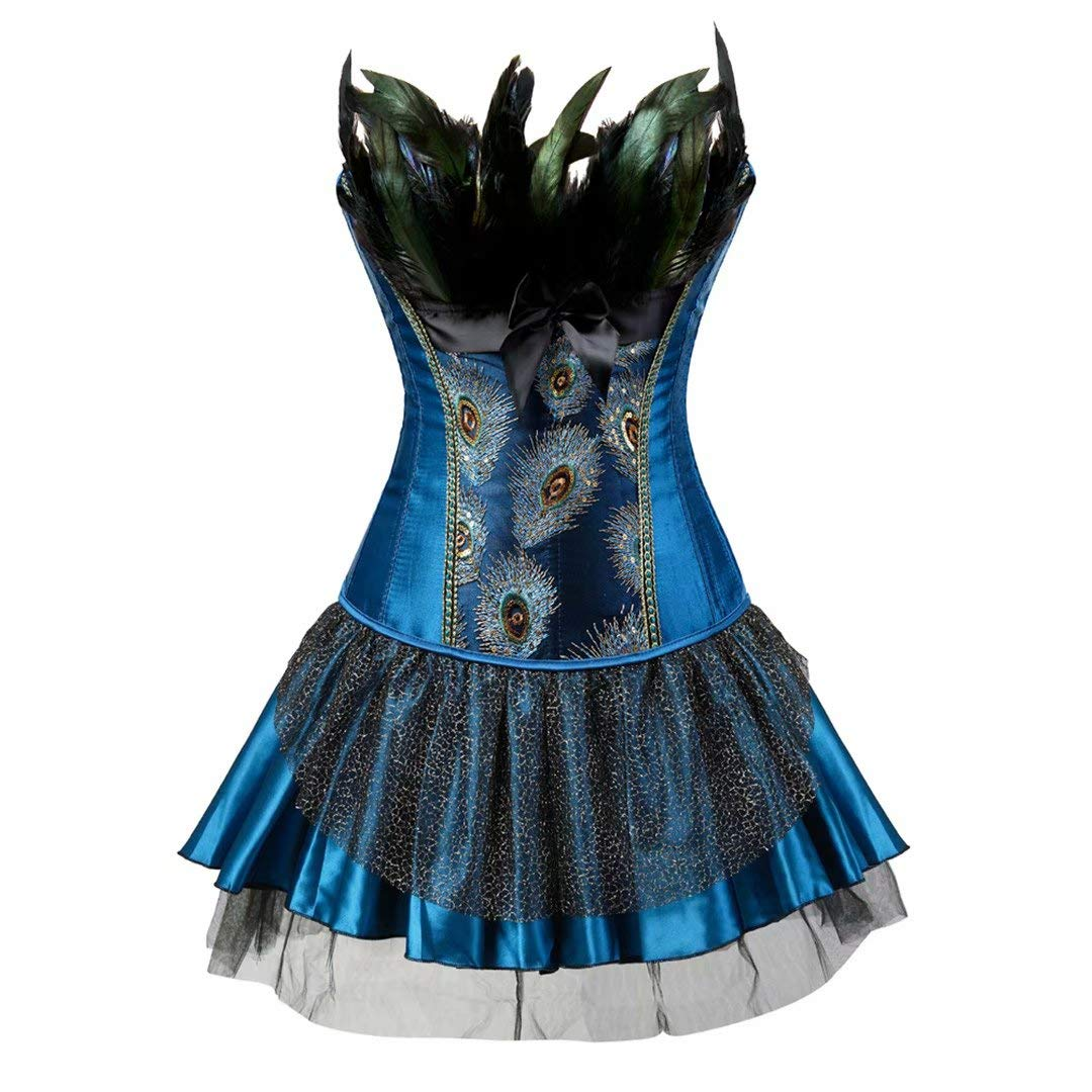 Steampunk Corset Dress for Women Bustier Lingerie Skirt Set Gothic Pirate Outfits Costume