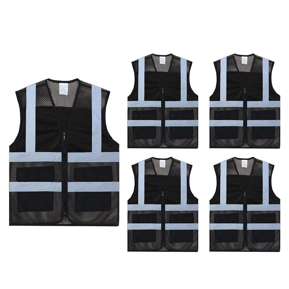 TOPTIE Pack of 5 Wholesale Unisex Volunteer Vest High Visibility Reflective Running Cycling Vest with Pockets