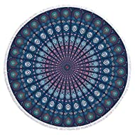 HyChill Beach Towel, Indian Mandala Large Thick Round BeachTowel,Super-Absorbent, Gigantic Quick Dry Towel, Ultra Soft, Microfiber Oversized Circle Blanket, Multi- Purpose Blanket, Machine Washable
