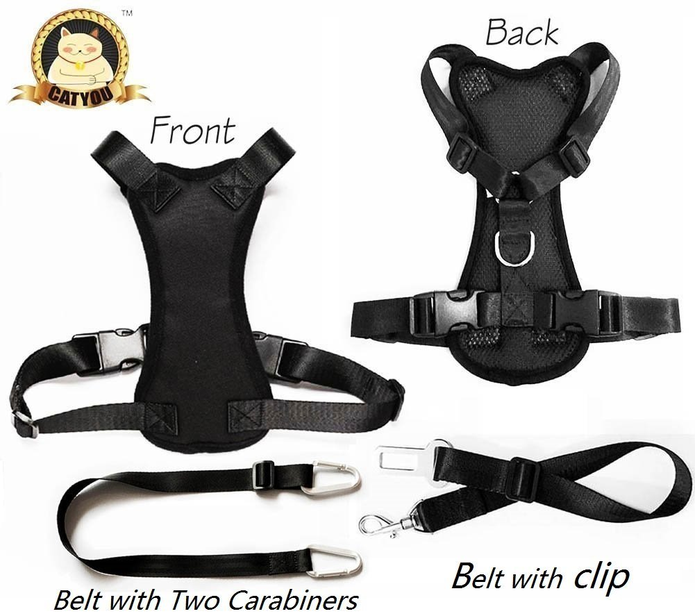 CatYou Durable Pet Car Safety Harness for Dog Cat + Nylon Pet Car SeatBelt Restraint Tether (Large (Harness+Belts), Black) by CatYou
