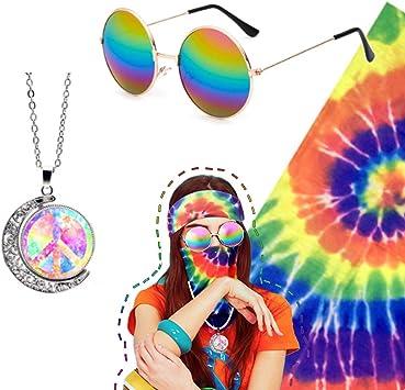 Juego de 3 piezas de accesorios hippie, gafas hippie, símbolo de ...