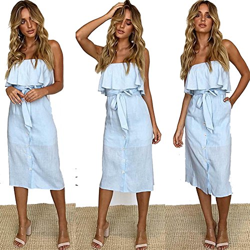 Dresses Blue Pleated Women Button Casual Ruffled Dress Shoulder Solid Midi Tie Down Strapless Pockets Waist Summer Off Light gCxfqwSx4