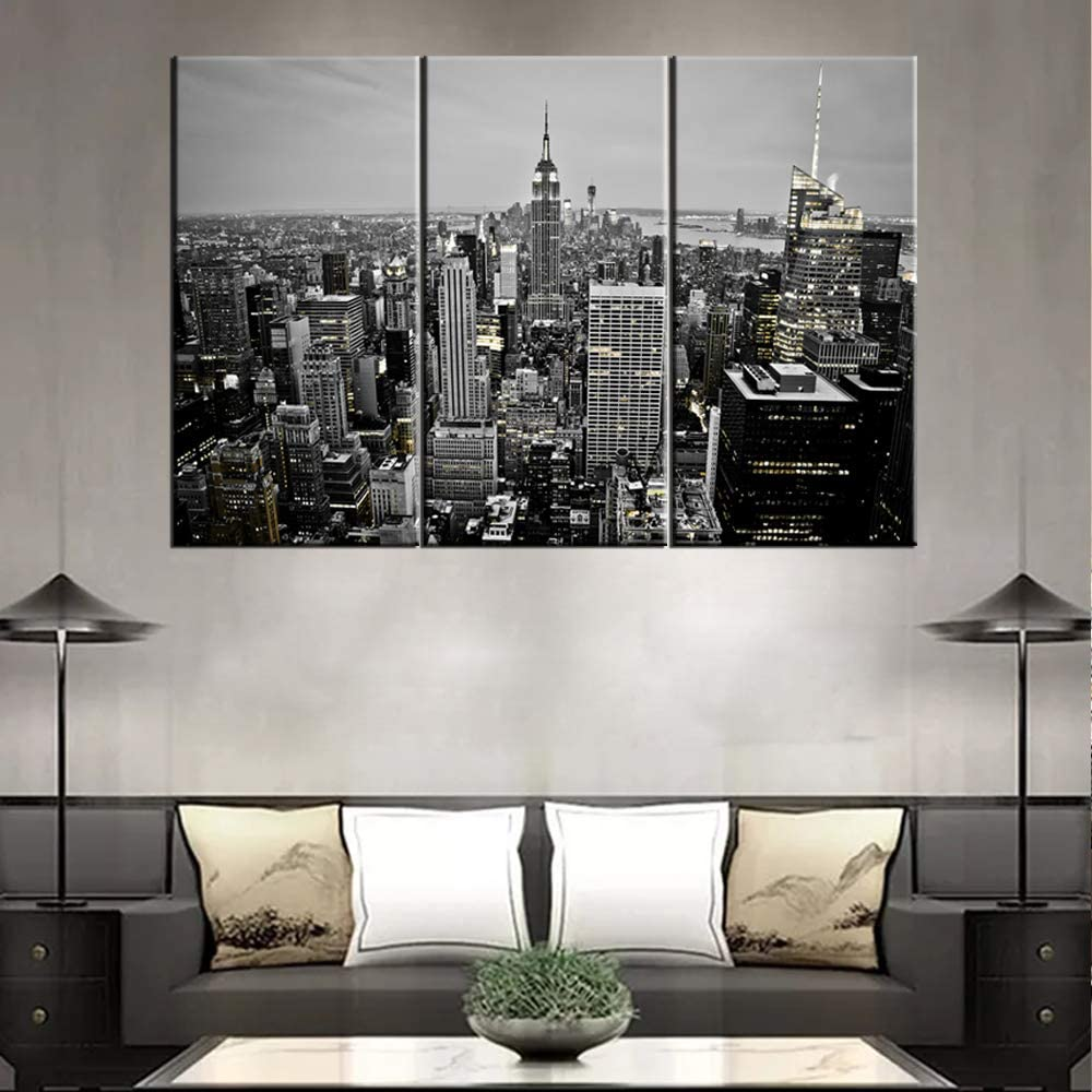 TUMOVO New York City Skyline at Night Canvas Wall Art Black and White Modern America Center Skyscraper Canvas Print Manhattan Skyline Giclee Wall Art for Home Office Wall Decor Framed 40''x20''x3Pcs