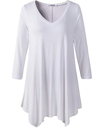 JollieLovin Womens Plus Size 3/4 Sleeve Loose-Fit T Shirt For Leggings Tunic  Top at Amazon Women's Clothing store: