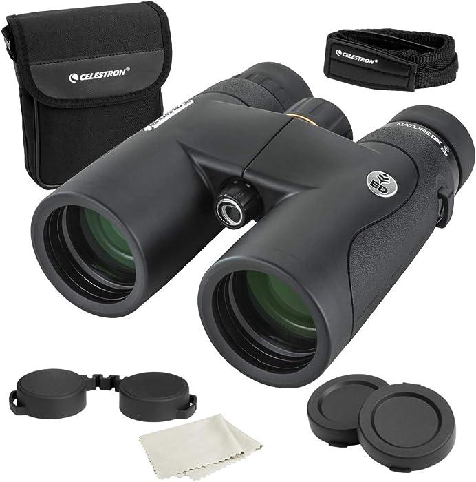 Celestron – Nature DX ED 10x42 Premium Binoculars – Extra-Low Dispersion (ED) Objective Lenses – Multi-Coated Optics –Phase-Coated BaK-4 Prisms – Binoculars for Bird Watching, 72333,Black