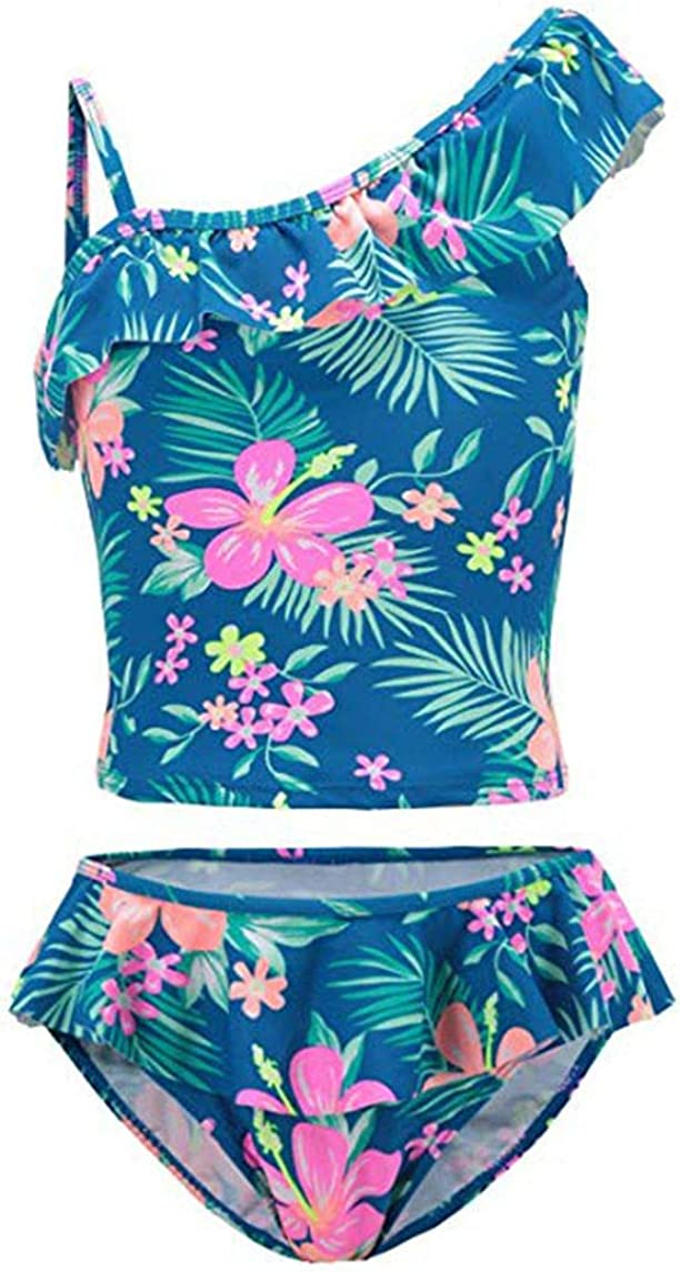 CHICTRY Kids Girls Two-Pieces Hawaiian Ruffles Tankini Swimsuit Swimwear Bathing Suits