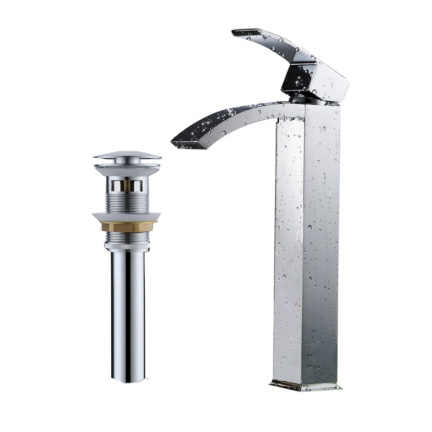 Greenspring Tall Spout Brass Bathroom Sink Vessel Faucet Basin Mixer Tap With Overflow Pop Up Drain,Chrome Finished