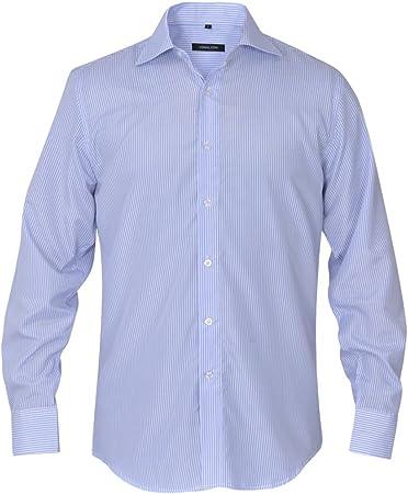 Fijo Night Camisa de hombre Business Señor Camisa Camisas Slim Fit Camisa de manga larga hombres camisa Blanco y Azul Claro Rayas Talla S, talla M: Amazon.es: Hogar
