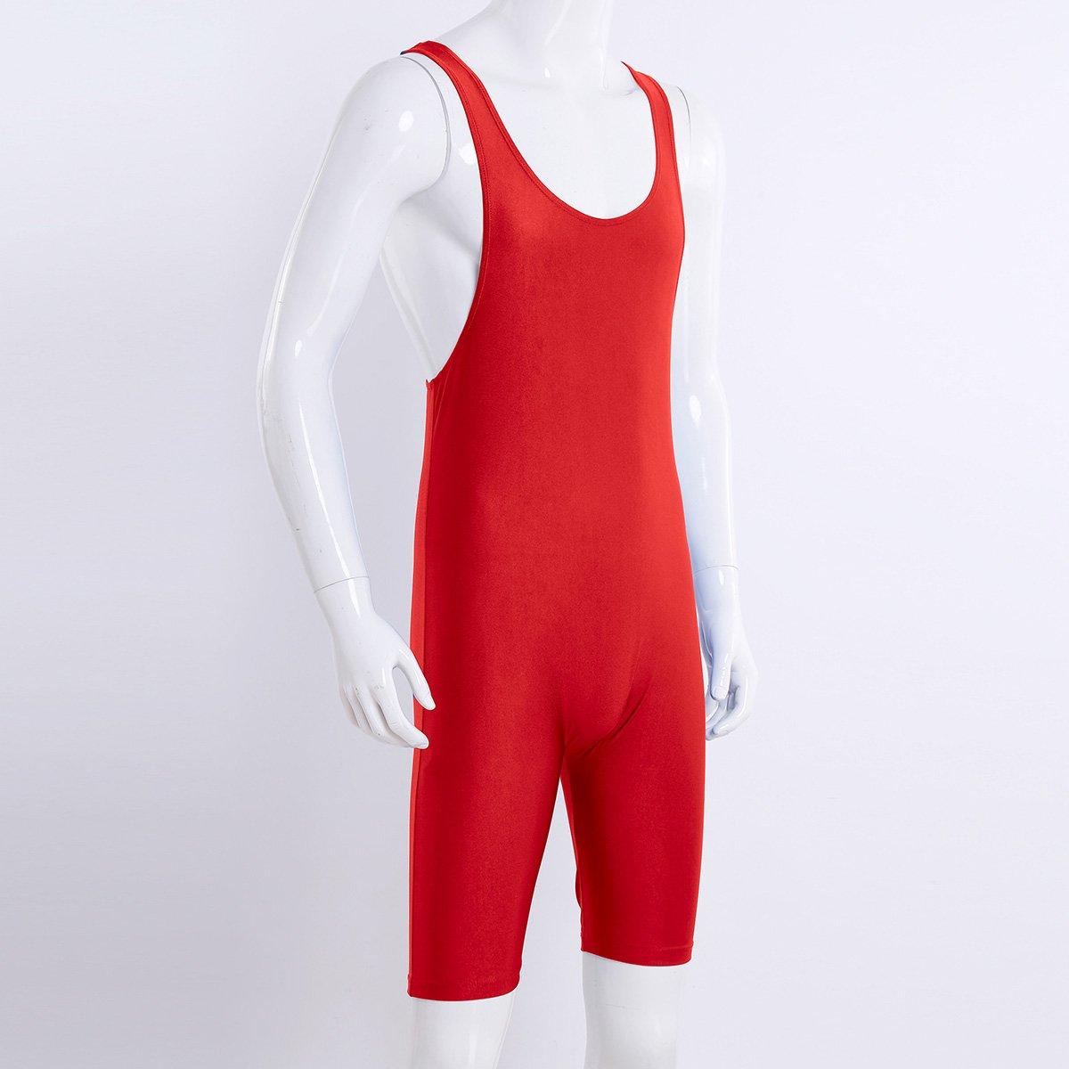 FEESHOW Mens Wrestling Singlet One Piece Sport Bodysuit Leotard Gym Outfit Underwear