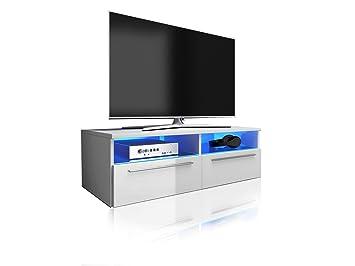 Siena meuble tv cm blanc mat fronts blanc brillant avec