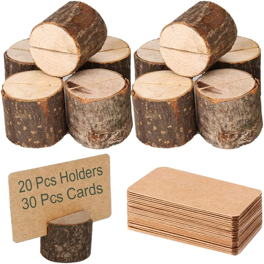 Toncoo Wood Place Card Holders, 20Pcs Premium Rustic Table Number Holders and 30Pcs Kraft Table Place Cards, Wood Photo Holders, Ideal for Wedding Party Table Name and More