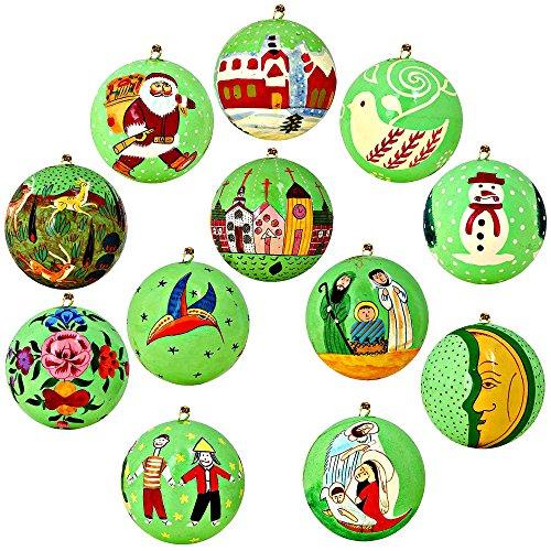 - Set of 12 Bright Green Paper Mache Ball Christmas Ornaments Handmade in Kashmir, India