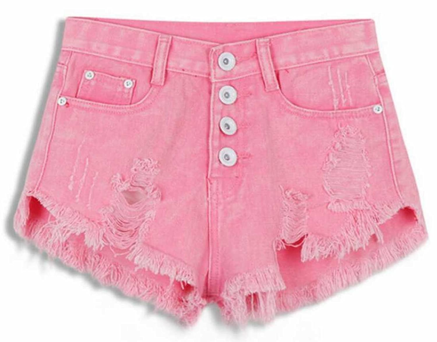 YUNY Women's High Waist Washed Hole Short Denim Shorts