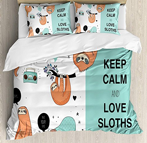 Animal Duvet Cover Set, 4 Piece Full Bedding Sets Soft Warm Microfiber Bedspread Comforter Cover and Pillow Shams, Lazy Sleepy Bear Tribe of Australian Sloths with 'Keep Calm' Quote Cartoon Priint