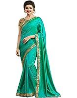 Bigben Women's Embroidery Paper Silk Designer Saree Sari With Blouses
