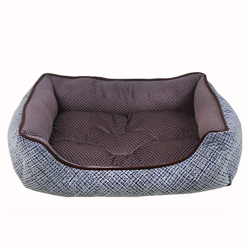 Brown Medium Brown Medium Kennel Pads Dog Beds The Dog's Bed Cotton Hemp Four-Square Velvet Completely Removable and Washable Hardwearing Pet Bed for Small and Medium Dog Nest Cat Bed Pet Supplies Cover