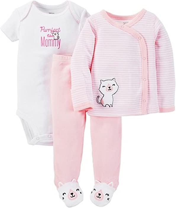 """0961bb8e9 Carter's Just One You Baby Girls' 3-Piece Striped Bodysuit Set  """"Purrfect"""