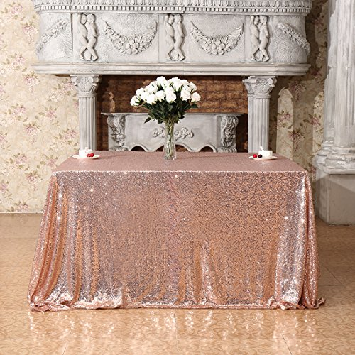 (Poise3EHome 50x50 Square Sequin Tablecloth for Party Cake Dessert Table Exhibition Events, Rose Gold )