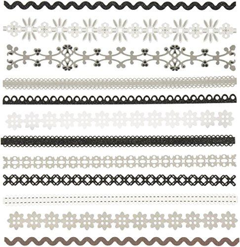 Adhesive Border Stickers - K&Company 30-595149 Adhesive Paper Borders-Sheer Simplicity Black & White
