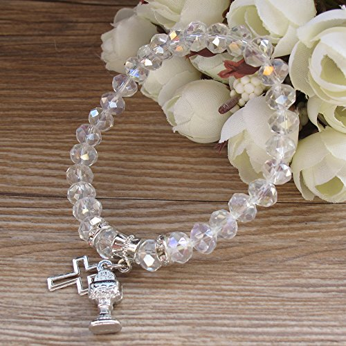 First Holy Communion Party Favor (12 PCS) Stretch Crystal Bracelet with Silver Metal Chalice and Cross Charms/Recuerdos para Primera Comunion Niña Niño/Gift for Guests