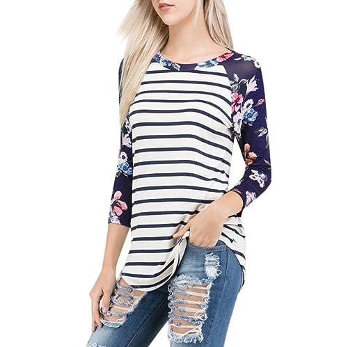 Camisetas Para Mujer, FAMILIZO Moda Mujeres Camiseta Rayado Floral Impreso fuera del hombro camisa d...