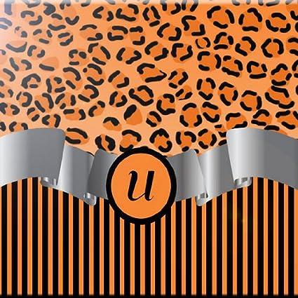 Rikki Knight 6 x 6 Letter Z Orange Leopard Print Stripes Monogram Design Ceramic Art Tile