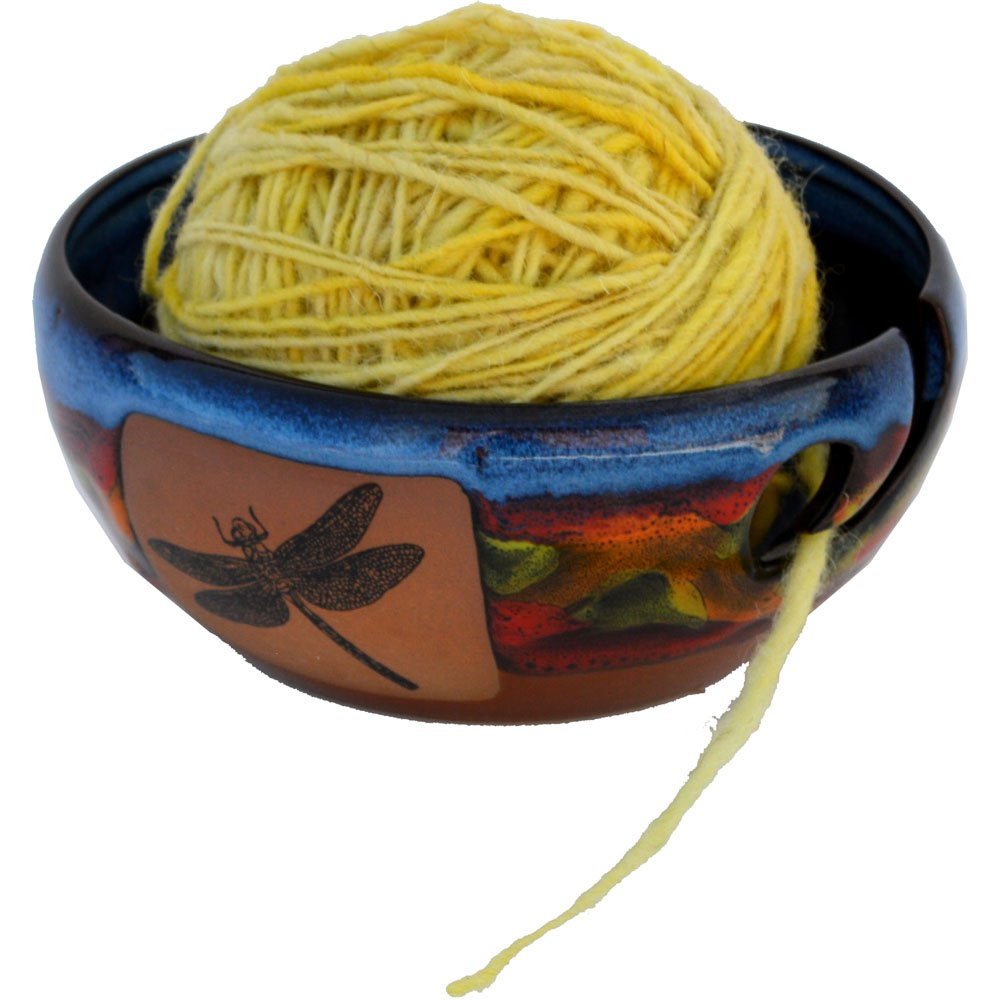 Dragonfly Yarn Bowl in Azulscape glaze