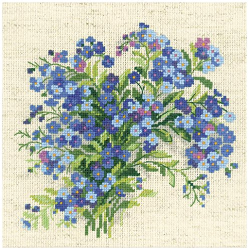 Riolis 14 Count Forget Me Nots Counted Cross Stitch Kit  8 X 8