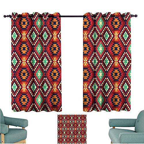 (Agoza Window Curtain Panel Native American Diamond Form Tiles Energy Efficient, Room Darkening)