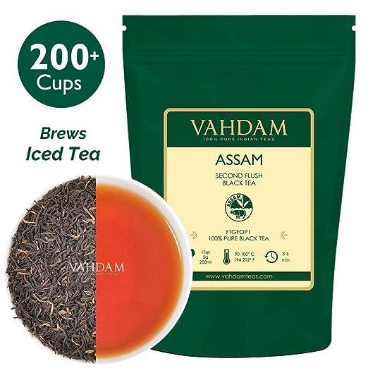 Assam Black Tea Leaves (200+ Cups), STRONG, MALTY & RICH, Loose Leaf Tea, 100% Pure Unblended, Single Origin Black Tea Loose Leaf, Brew Hot Tea, Iced Tea, Kombucha Tea, FTGFOP1 Long Leaf Grade, 16oz