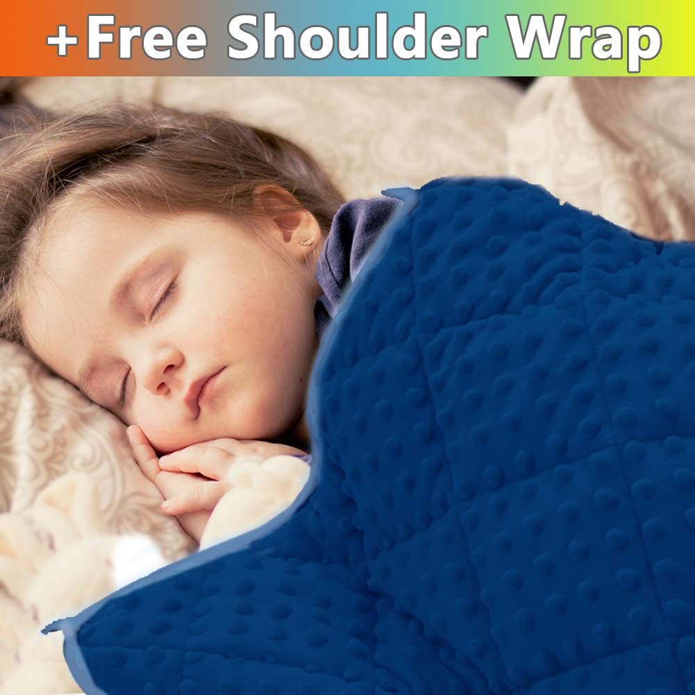 MAXTID Blue Weighted Blanket for Kids 7 lb for Children 70-90 lbs Heavy Blankets with Premium Glass Beads for Calm Deep Sleep 41x60inches by MAXTID
