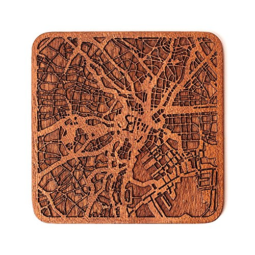 Tokyo Map Coaster by O3 Design Studio, 1 piece, Sapele Wooden Coaster With City Map, Handmade, Multiple city optional