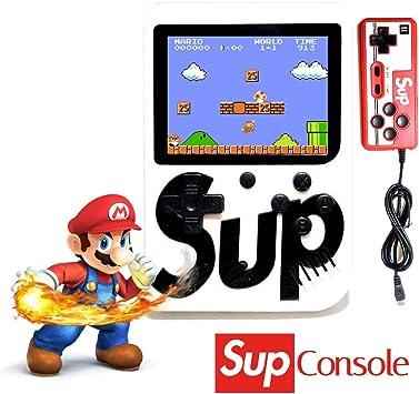 Amazon.es: JDD Sup Retro Mini Consola portátil para Juegos 400 Juegos 2 Jugadores Soporte para conectar TV, Blanco, 6.6 x 6.3 x 1.5 Inches