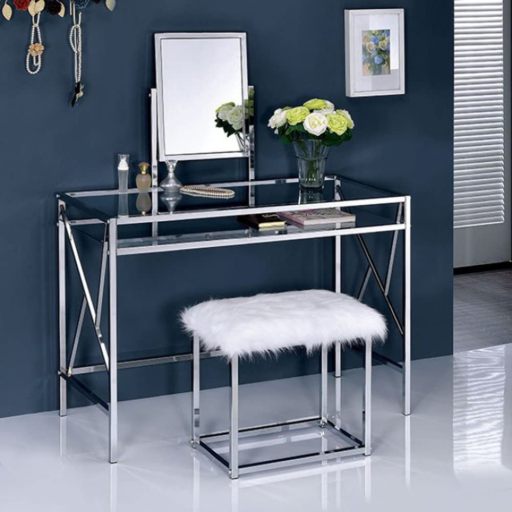Furniture of America Lismore Chrome Stool Vanity Table