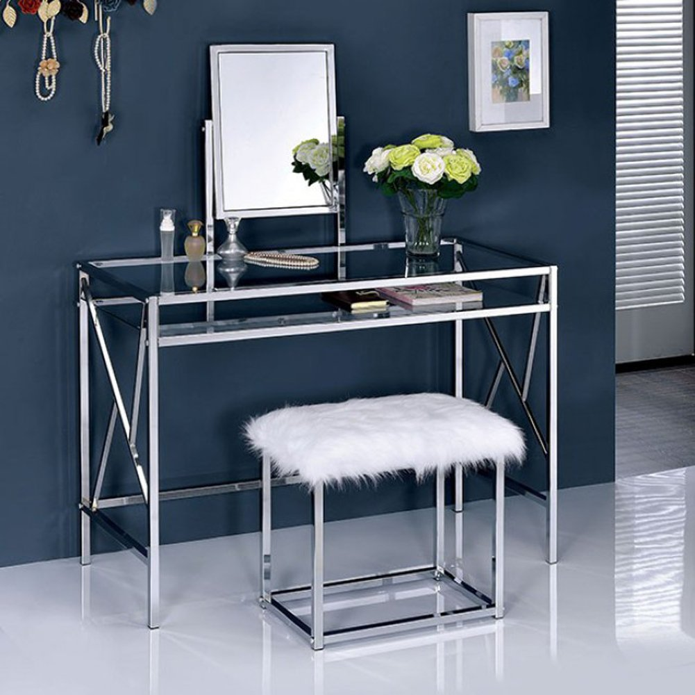 Furniture of America CM-DK6707CRM Lismore Chrome Vanity with Stool Table