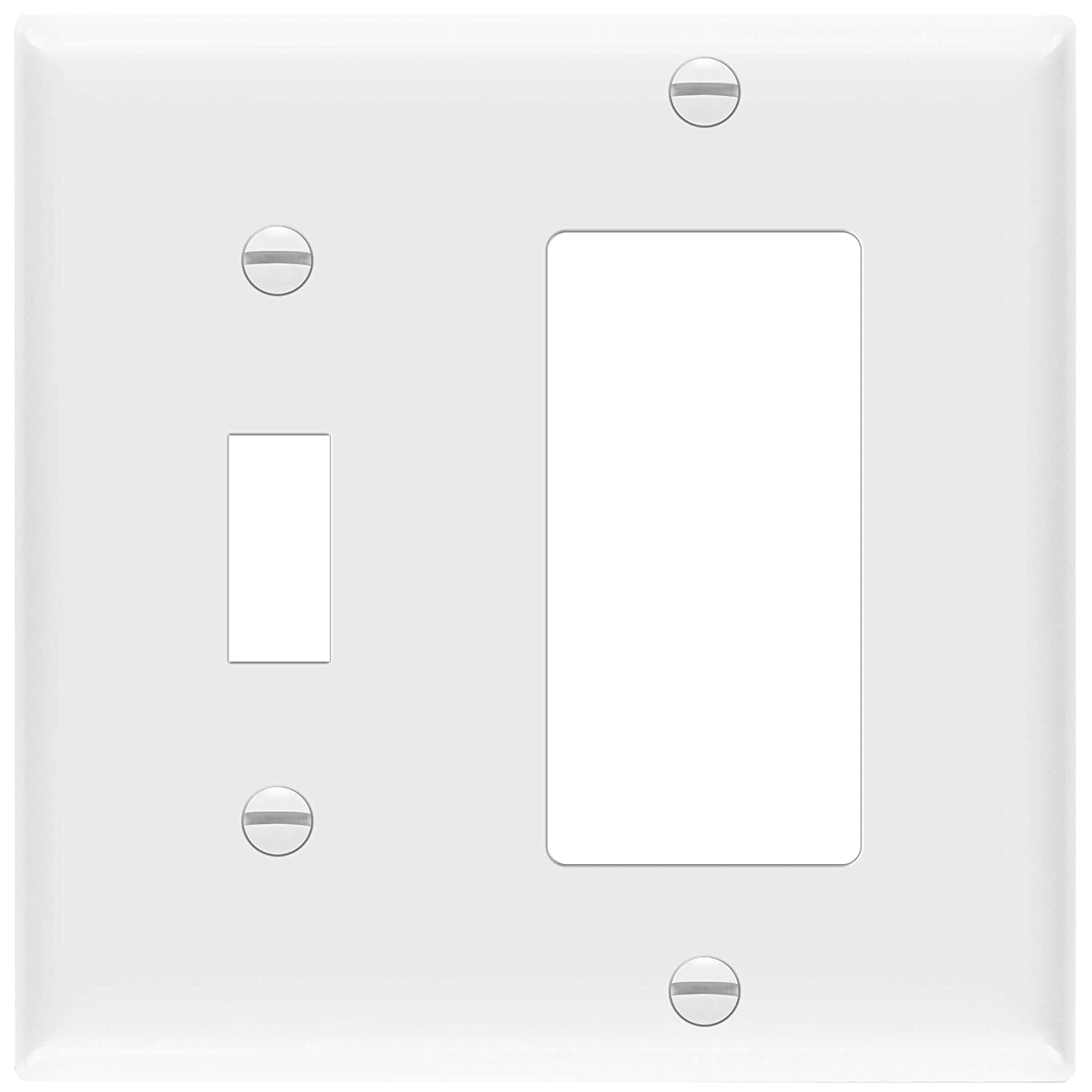 Enerlites 881131 W Decorator Toggle Switch Wall Plate Combination 2 Gang White Standard Size Unbreakable Polycarbonate Replacement Receptacle Faceplates Outlet Cover Amazon Com Home Improvement