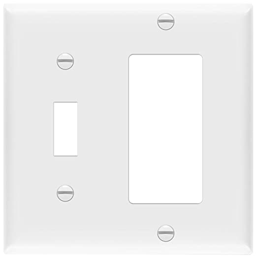 Enerlites 881131 W Decorator Toggle Switch Wall Plate Combination 2 Gang White Standard Size Unbreakable Polycarbonate Replacement Receptacle Faceplates Outlet Cover Home Improvement