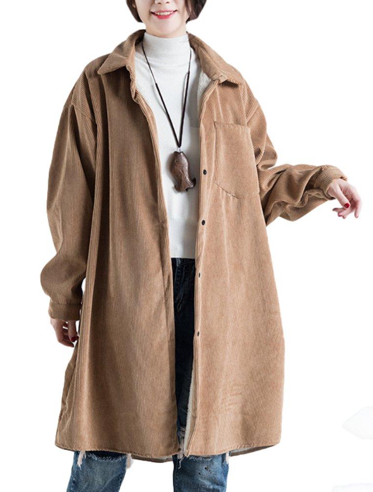 Vogstyle Damen Reverskragen Knopf Fleece Innen Corduroy Jacket Mantel VOGLH168 Green