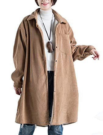Long Blouson Vogstyle Vintage Velours Côtelé Manteau En Femme gq0Eqa