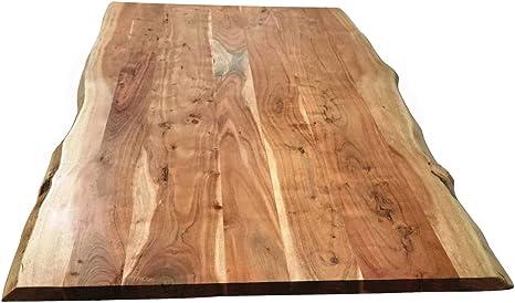 Piano Per Tavolo 160 X 85 Cm In Legno Di Acacia Natura Con Bordi Grezzi Al Naturale Amazon It Giardino E Giardinaggio