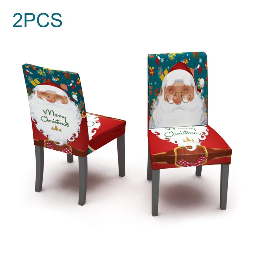Takefuns 2 PCS Stretch Removable Washable Dining Room Chair Protector Slipcovers,Christmas Decoration Seat Cover,Xmas Ornaments for Home Decor by Takefuns