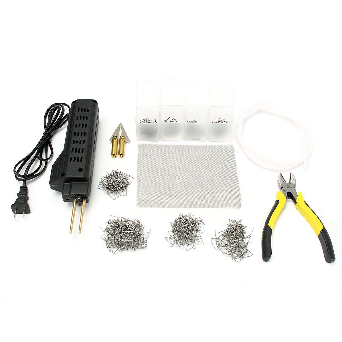 Kit Hot Stapler with 400 Staples Car Bumper Plastic Welding Torch Fairing Auto Body Tool Welder Machine for Plastic Repair Bumper Repair SKU: 48-9FFA-1D9D