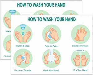 "FaCraft Hand Washing Sign for Kids,2pcs,Wash Your Hand Signs Sticker for Office, School, Store, Restaurant,7""x 10"""