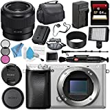 Sony Alpha a6300 Mirrorless Digital Camera (Silver) ILCE-6300/S + Sony FE 50mm f/1.8 Lens SEL50F18F + NP-FW50 Replacement Lithium Ion Battery + External Rapid Charger Bundle