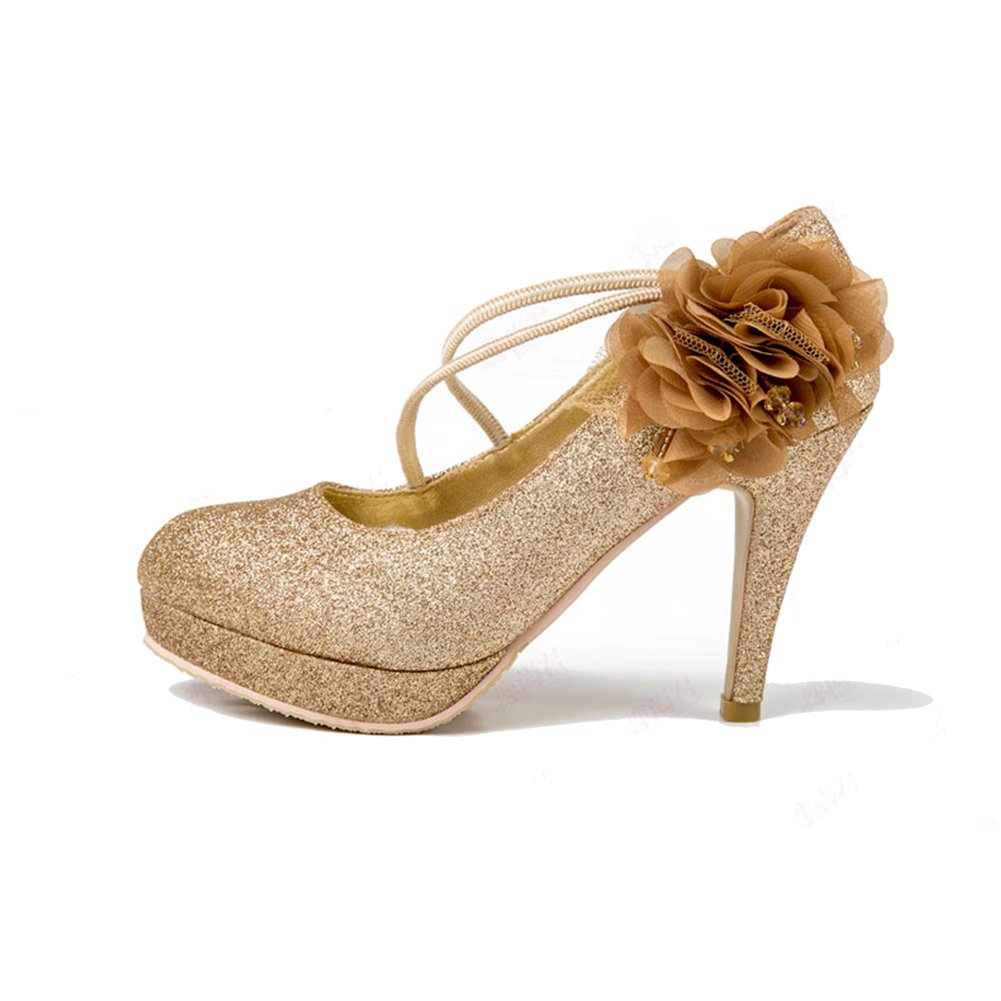 XUERUI Damenschuhe High-Heeled Strap Cosy Turnschuhe mit Gold Schuhe Pumps (größe   EU37 UK4.5-5 CN37)