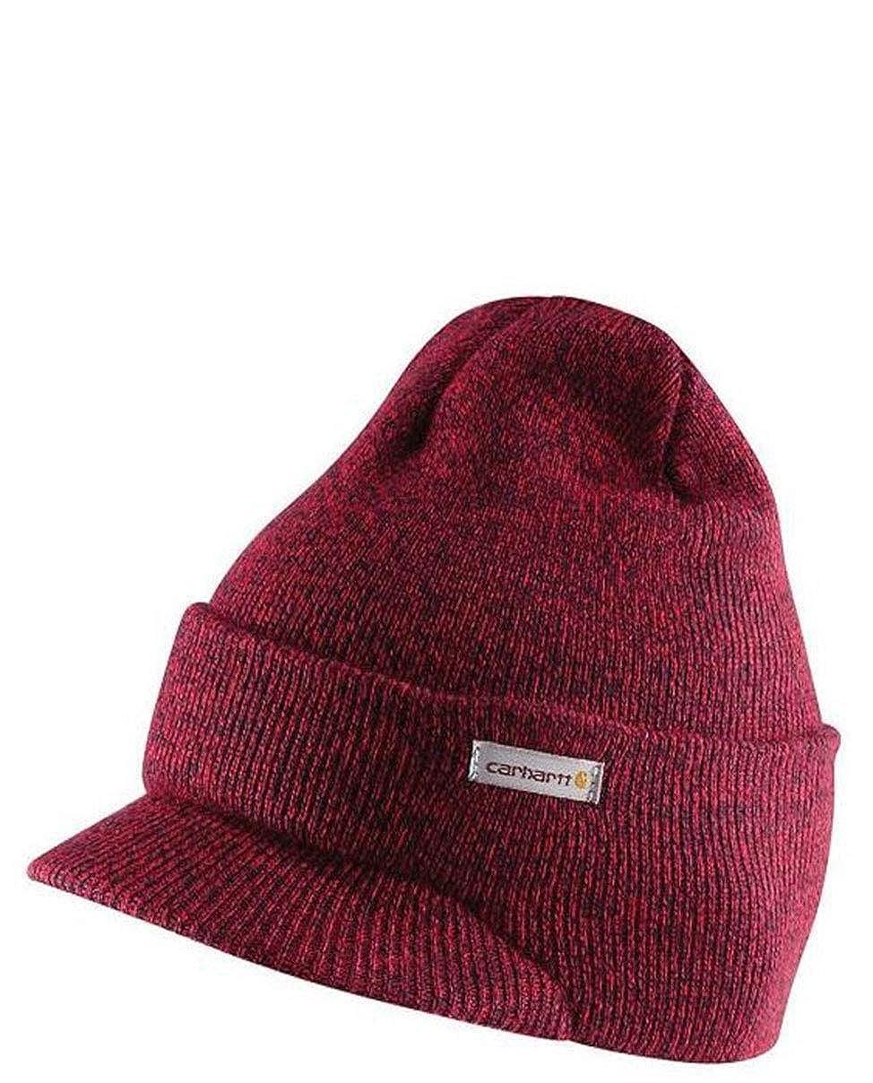Carhartt Cuffia a Maglia con Visiera Rosso e Blu Marina Cappello Beanie Pea CHA164648