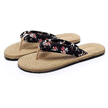 Zapatillas HUYP Chanclas, Imitación, Cáñamo, Moda Femenina De Verano, Usar Zapatos con Suela Blanda (Color : A, Tamaño : 38): Amazon.es: Hogar