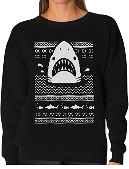 Amazoncom Great White Shark Ugly Christmas Sweater Women