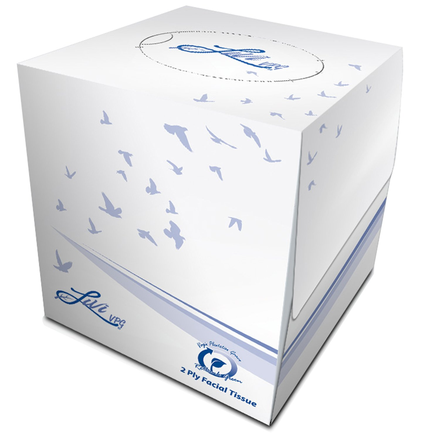 Solaris Paper 11516 Livi VPG Cube Box Facial Tissue, 2 ply, 8.37'' x 8.07'', Plain Emboss, White (Pack of 36)
