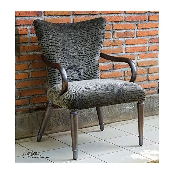 Uttermost Lagan Reptile Pattern Accent Chair - Elegant, paris silver finish showcasing mango wood grain brought out with a hint of metallic pewter Mango Wood with Foam; Fabric construction Lagan collection - living-room-furniture, living-room, accent-chairs - 61ylSqoM2aL. SS570  -